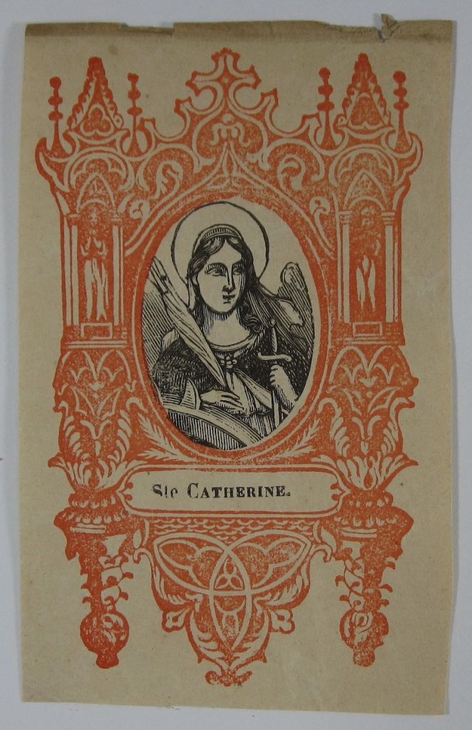 Printed card with image of St. Catherine. Undated, but likely mid-nineteenth century.