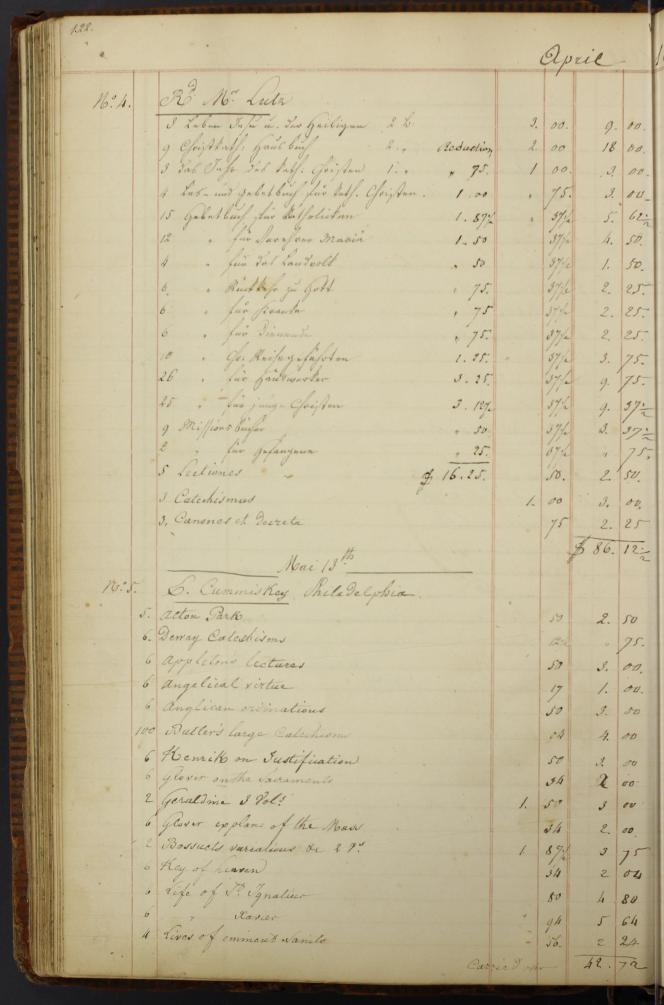 A typical page in the ledger, this specific one showing the order from Fr. Lutz. (Collection of St. Louis University)