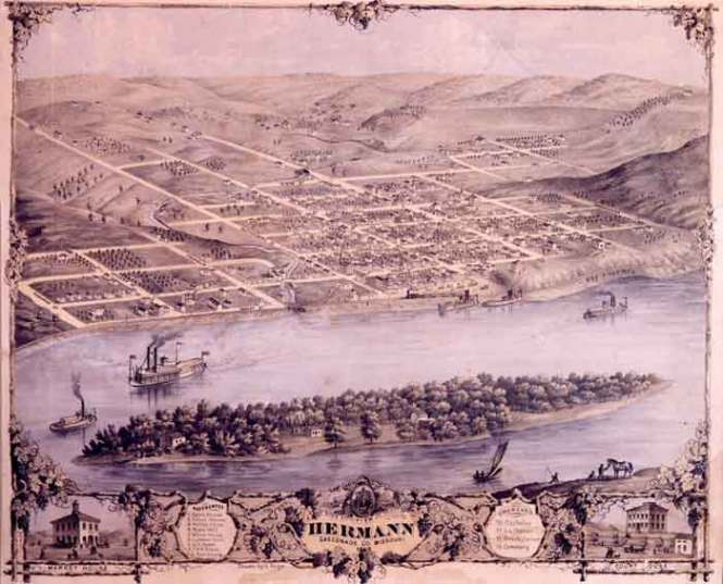 Seated on the Missouri River, Hermann was favored by German immigrants for its similarity to the Rhineland (Image Source: Hermann Area Chamber of Commerce)