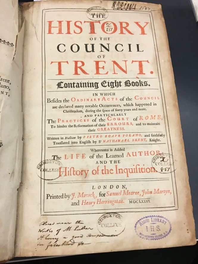 1676 edition of Paolo Sarpi's History of the Council of Trent with some handwritten advice about where the book should be shelved!