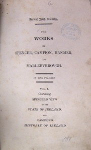 Front cover of the 1809 reprint of the 1633 first edition of Sir James Ware's Ancient Irish Histories.