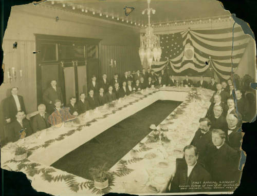 First annual banquet of the Lincoln College of Law, St. Ignatius College. Held at the Great Northern Hotel in Chicago, Illinois, on February 12, 1909. Collection of Loyola University Chicago Archives and Special Collections.