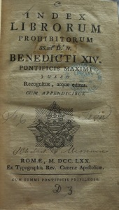 Cover of the 1870 edition of the Index Librorum Prohibitorum given by the Missouri Province to St. Ignatius College.