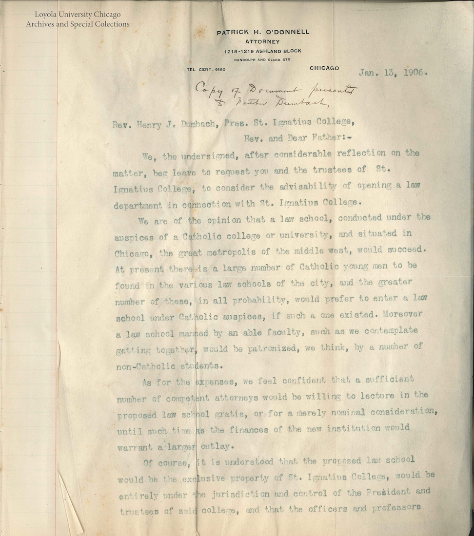 the jesuit libraries provenance project page uncovering the letter to fr dumbach requesting a law school page 1 date original