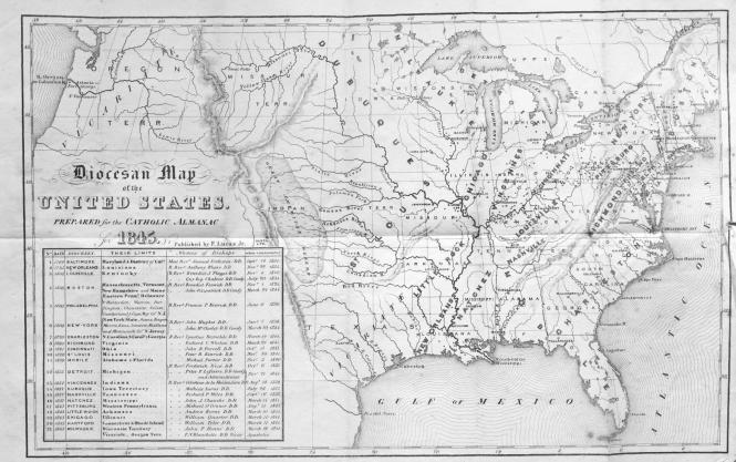 """Diocesan Map of the United States. Prepared for the Catholic Almanac for 1845."""