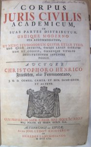 Title page of the 1721 Corpus still in the collections of Loyola's libraries today.