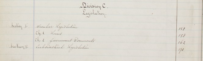 Listing of the Legislation Division from the index of the original St. Ignatius College library catalog.
