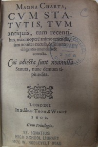 Title page of the 1602 Magna Carta in Loyola's collections today.