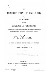 An earlier (1853) edition of de Lolme's Constitution of England.