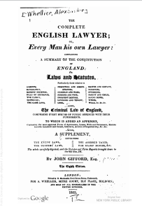Title page of a copy of Gifford's English Lawyer from 1823, five years earlier than Loyola's original copy.